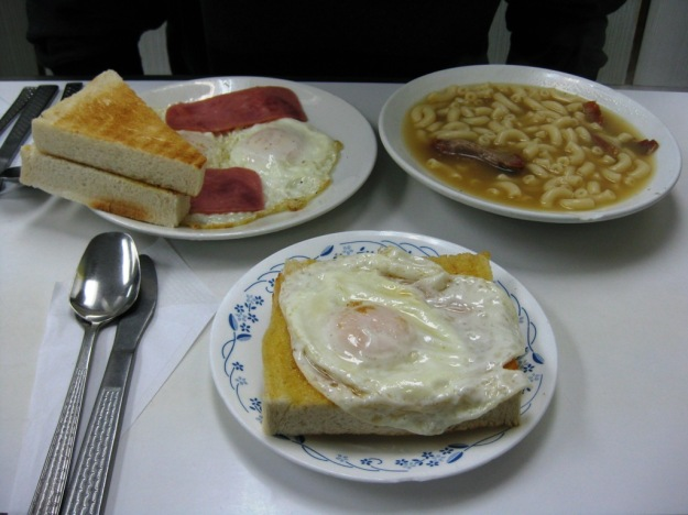 breakfast food - toast, eggs, and macaroni with bbq pork